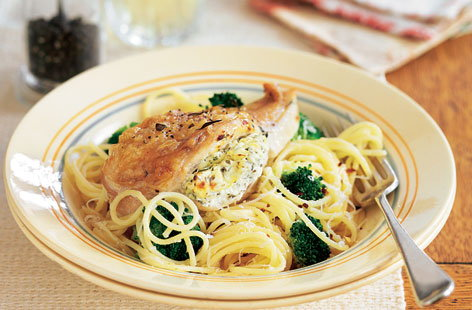 Lemon and thyme chicken with spaghetti