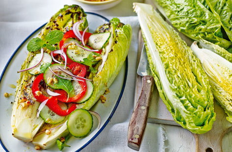 Grilled romaine lettuce with dressing
