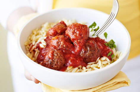 Moroccan-style meatballs with orzo
