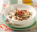 Muesli with a trio of toppings