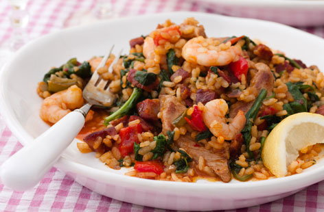 Andalusian spicy paella