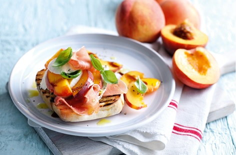 Peach, parma ham and mozzarella bruschetta