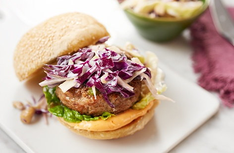 Gingery pork burgers with Asian slaw