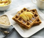 Pumpkin and cinnamon waffles with caramelised apple yogurt