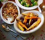 Roasted root veg with maple syrup