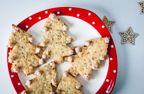 Alyn Williams' sage and onion Christmas tree shortbread with cheddar and cranberry baubles