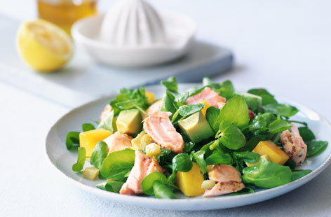 salmon salad with avocado and watercress THUMB