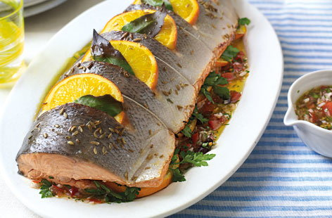 salmon with shallot and tomato dressing THUMB