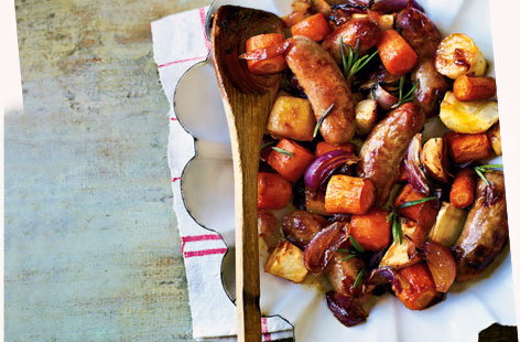 Sausage and root veg bake with honey orange dressing