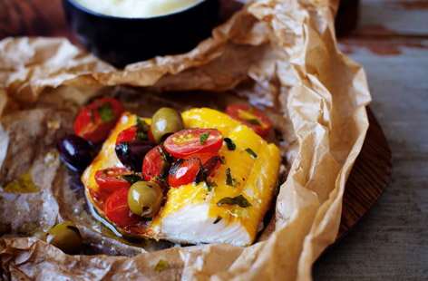 finest* smoked haddock parcels with cherry tomatoes and olives
