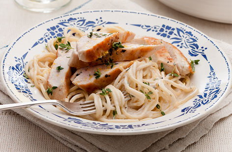 Spaghetti with lemon and thyme chicken