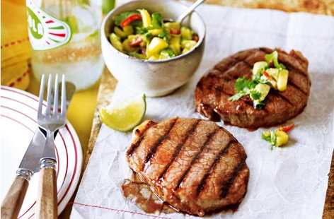 Barbecue steak with lime and mango salsa
