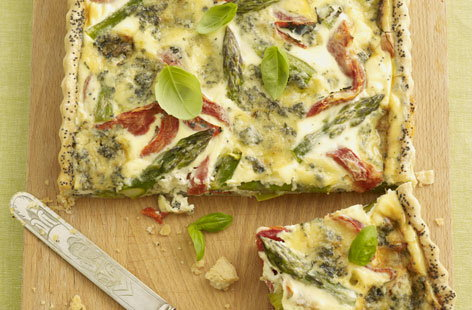 Stilton and asparagus flan