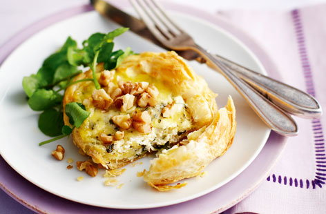 Stilton and watercress tartlets