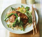 Pork fillet stir-fry with oriental greens