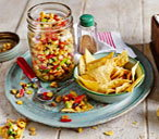 Sweetcorn relish with tortilla chips