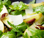 finest* shaved parmesan, pear, pecan and rocket salad with a honey-mustard dressing