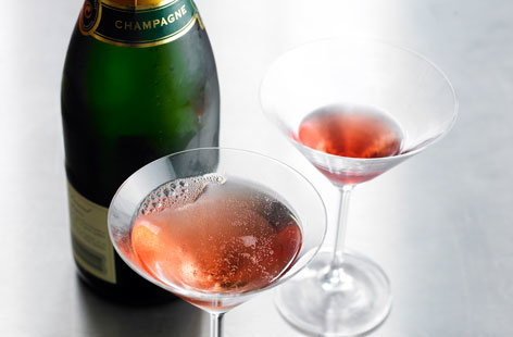 Champagne with raspberry liqueur