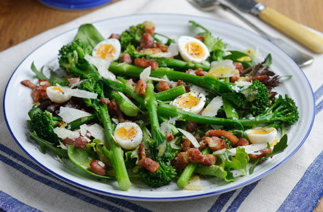 A warm salad of Tenderstem broccoli with quail eggs and bacon HERO