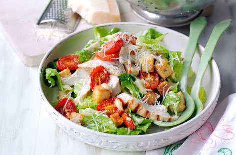Caesar salad with roasted tomatoes and croutons HERO