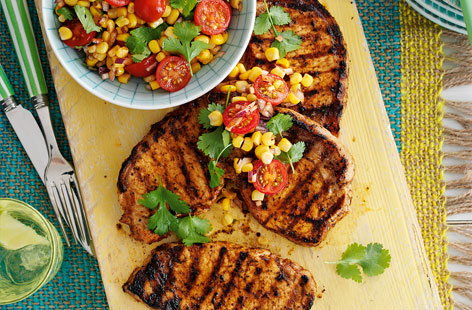 Cajun spiced pork with corn salad HERO