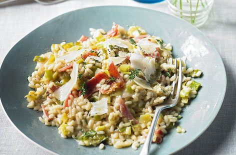 Leek and bacon risotto with fresh thyme HERO