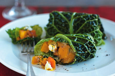 Squash and feta cheese cabbage parcels
