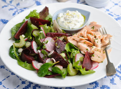 Summer garden salad with Beetroot trout fillets (h)