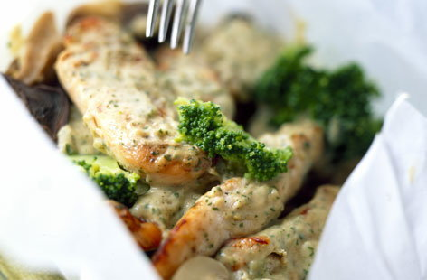 Creamy chicken with pesto recipe