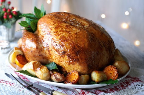 Roast turkey with date, pancetta and rye bread stuffing