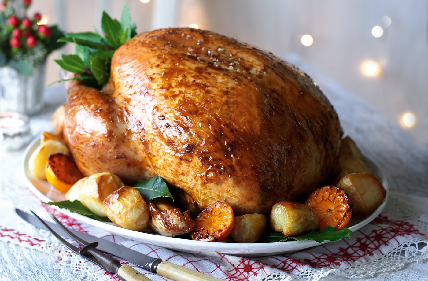 Roast turkey with date, pancetta and rye bread stuffing recipe