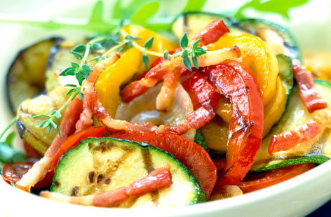 028353 plate of grilled vegetables with diced bacon HERO