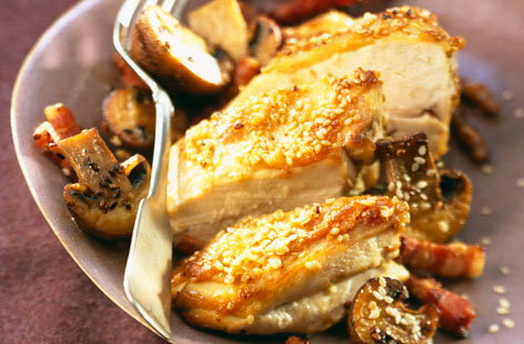 073258 free range chicken breasts with sesame seeds and mushrooms HERO