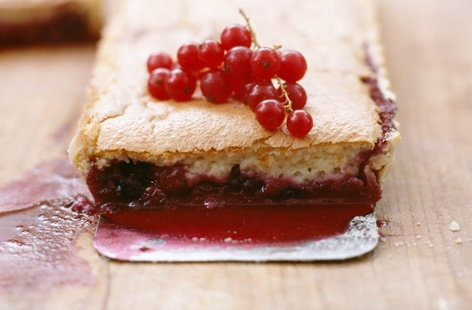 Sponge pudding with summer fruit