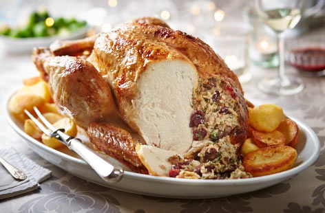 Dazzle your dinner guests with this traditional turkey recipe, served with all the trimmings and sauces you want