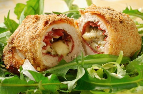 Chicken breasts stuffed with cheese and cured meat are a match made in foodie heaven – and this tasty recipe uses mozzarella and Bresaola (air-dried, salted beef). The chicken is rolled in breadcrumbs for a lovely, crunchy coating.