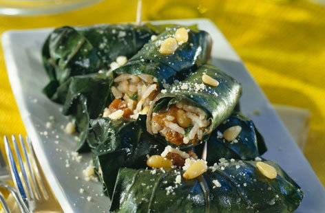 128515 vine leaves stuffed with rice and dried fruit HERO