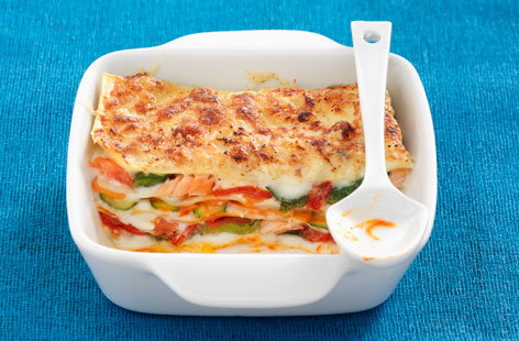 Salmon and vegetable lasagne