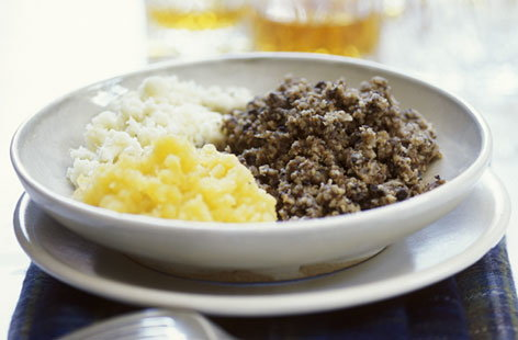 Haggis and mashed potatoes
