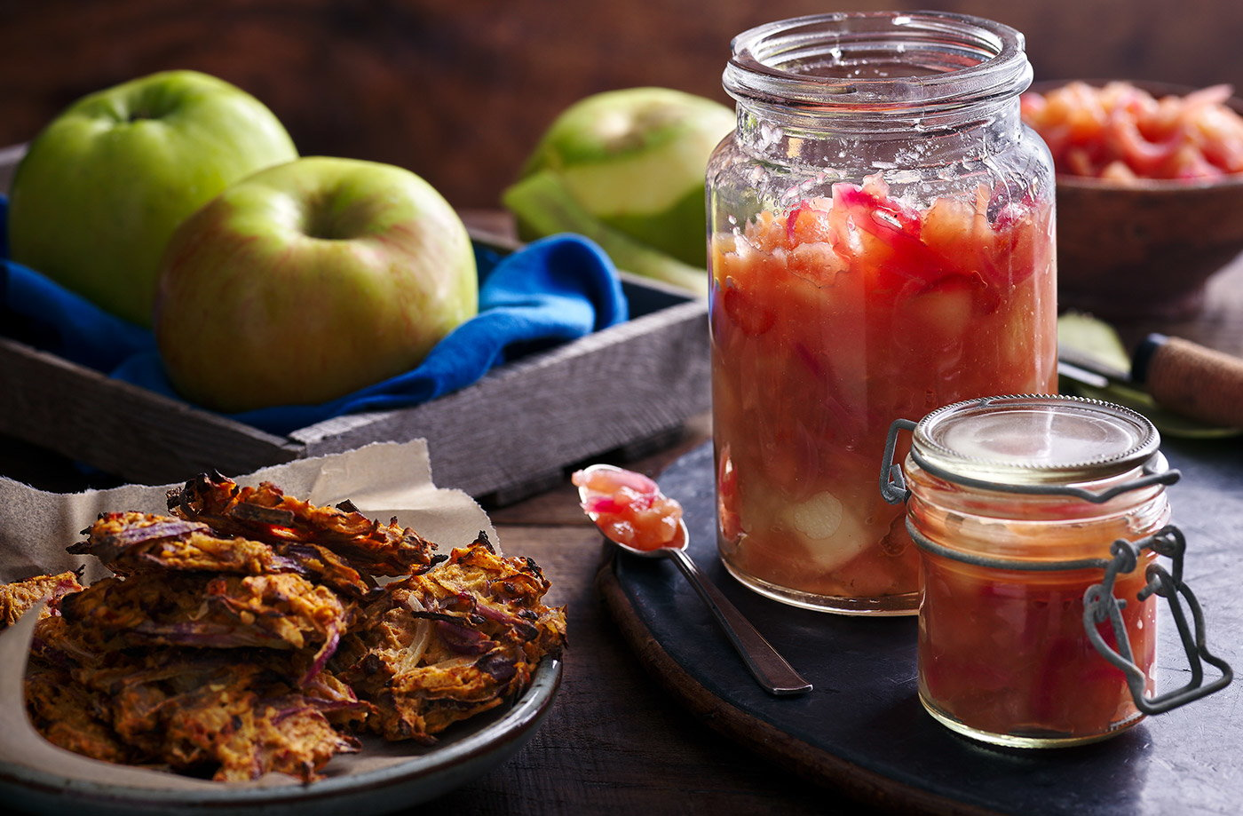 Baked apple pakoras with spiced apple chutney recipe