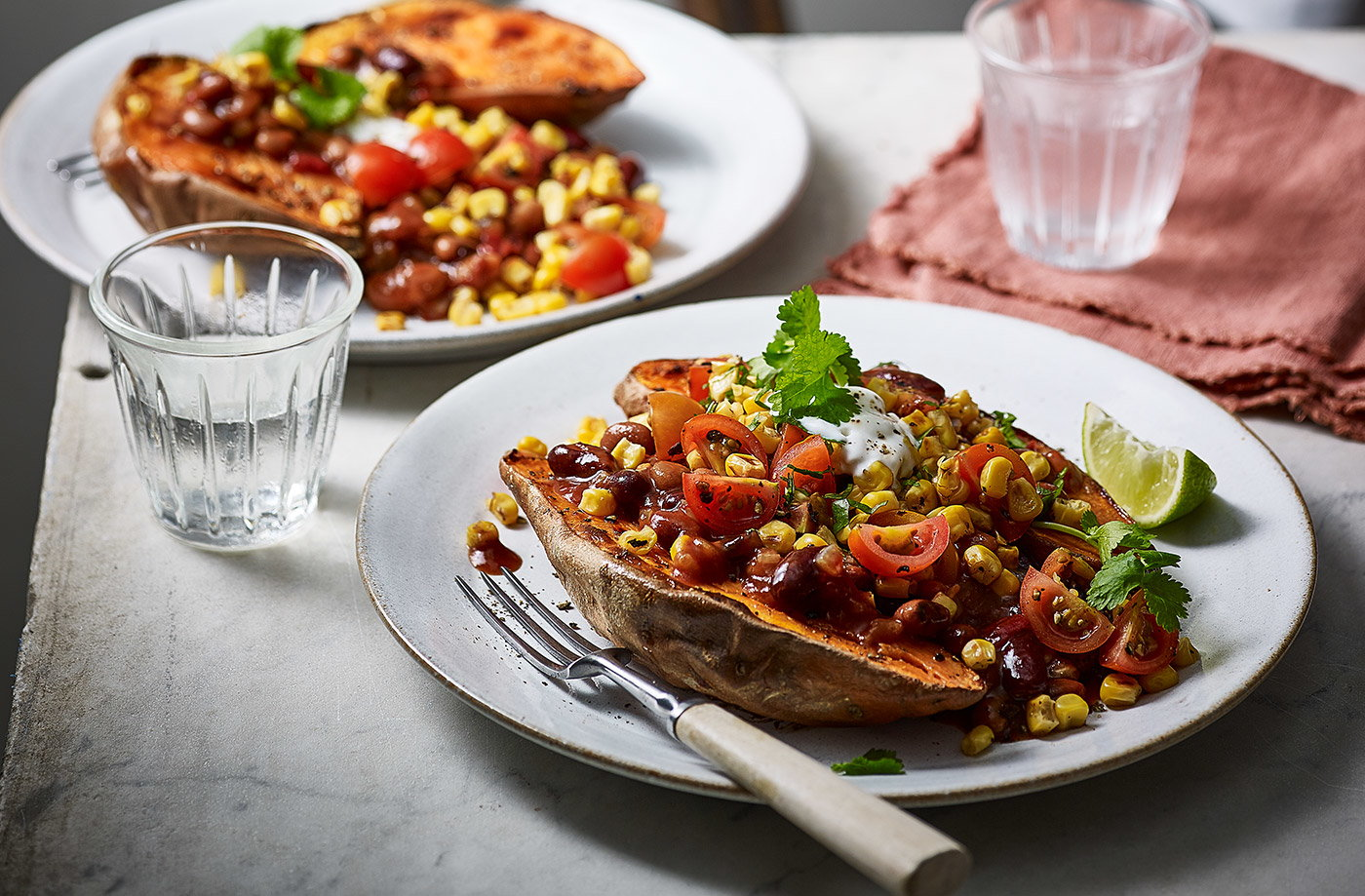 Baked sweet potatoes with fajita beans recipe