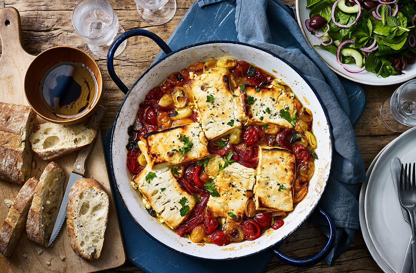 Baked feta and tomatoes with cucumber salad recipe