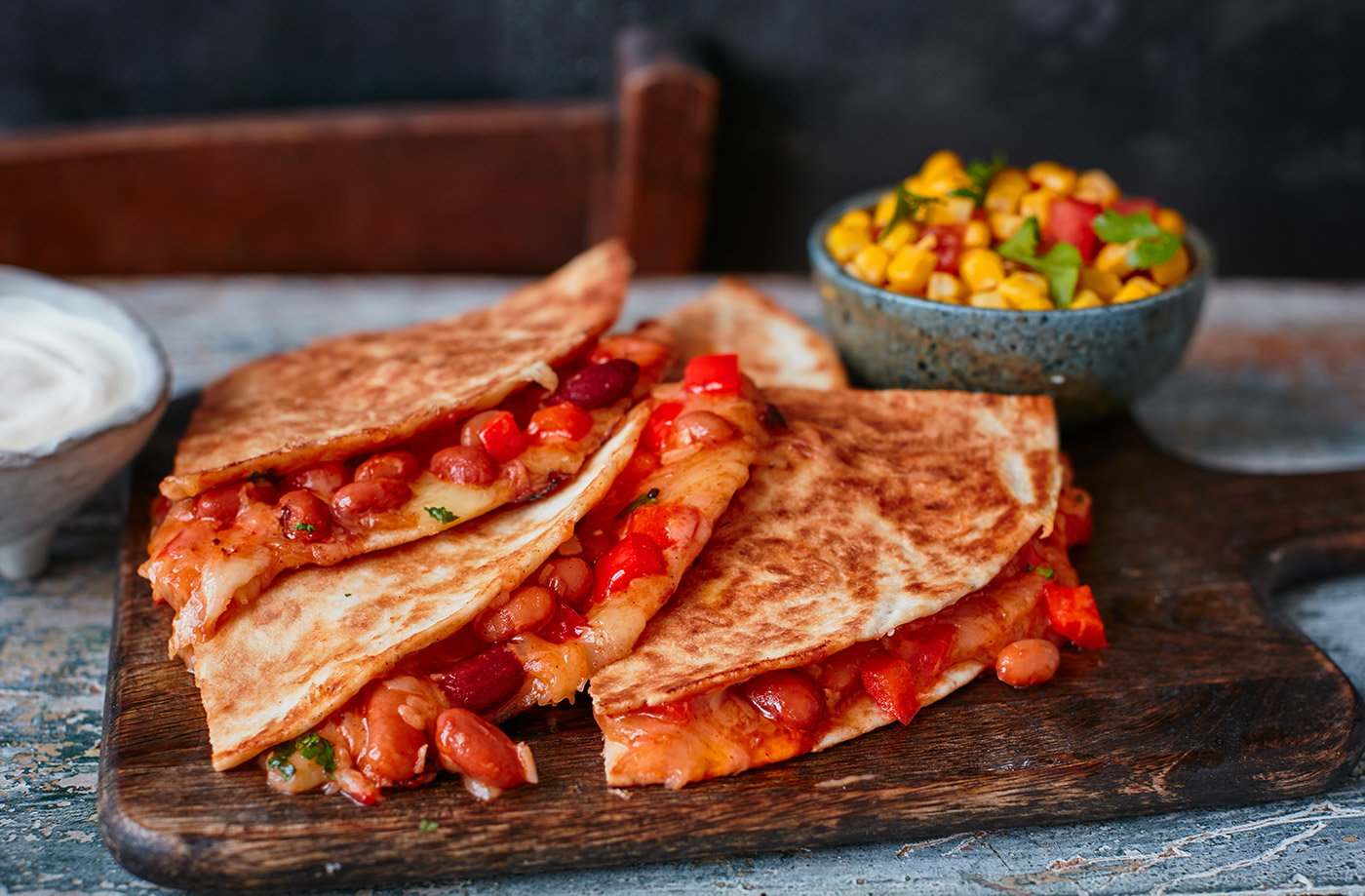 Bean quesadillas with sweetcorn salsa