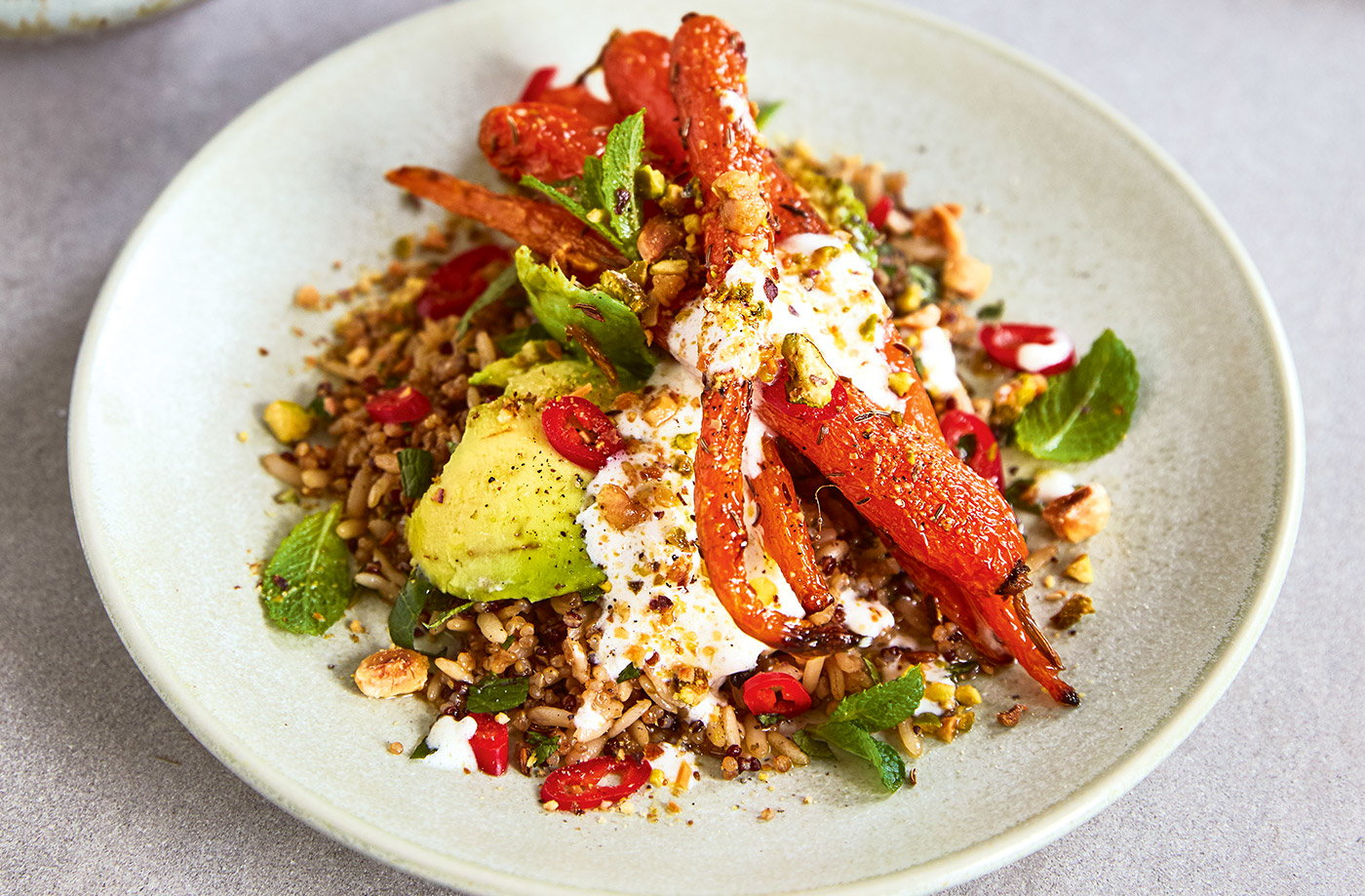 Roasted carrot and grain salad recipe