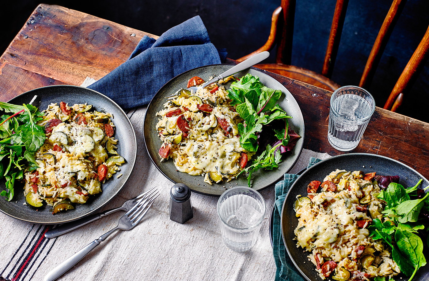 Cheesy chorizo and courgette baked rice recipe