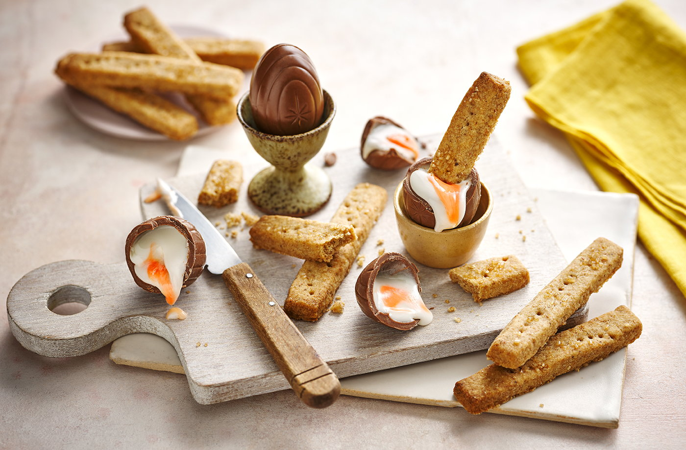 Chocolate 'dippy eggs' and brown butter shortbread soldiers recipe
