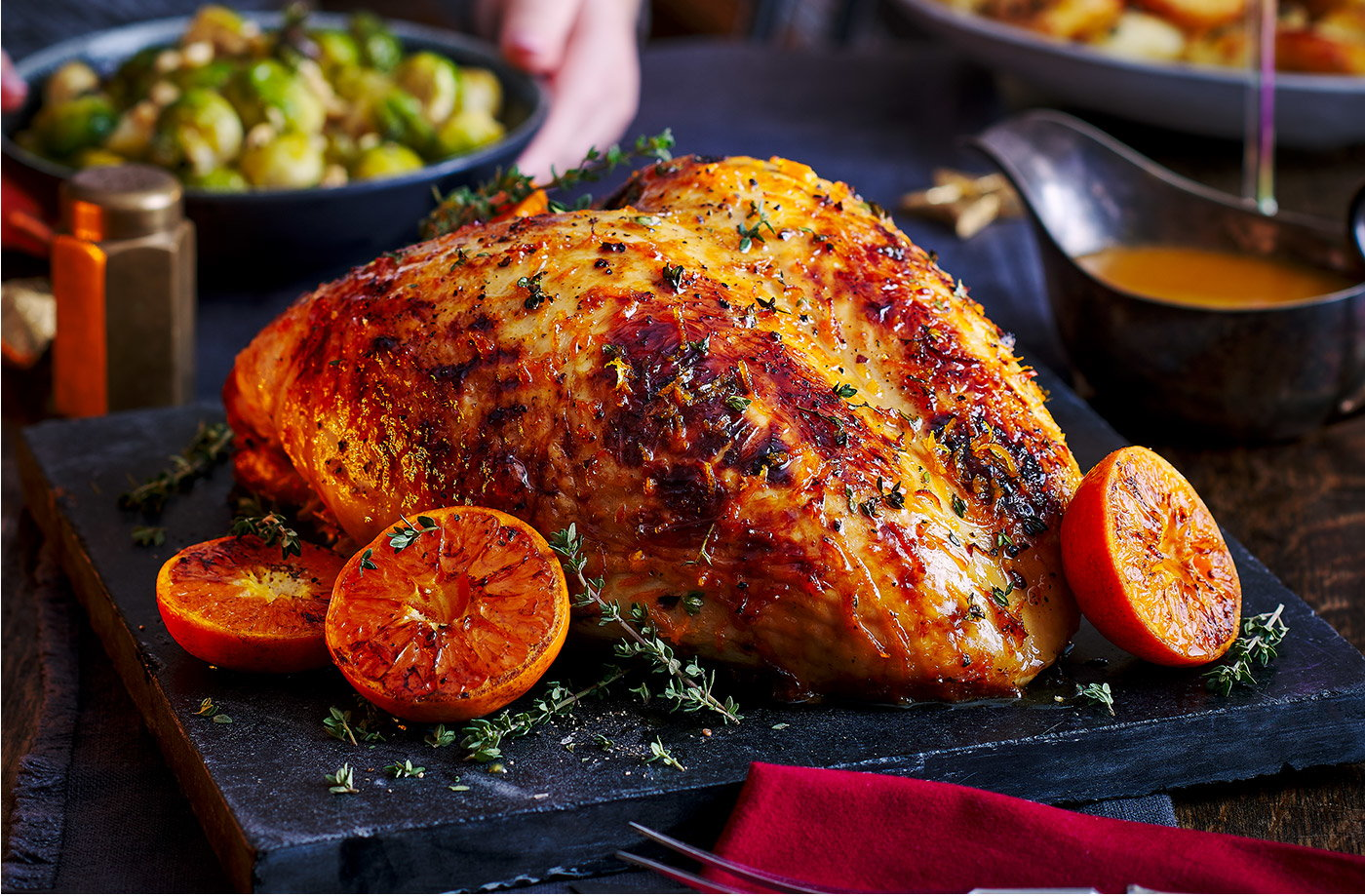 Clementine, thyme and honey-glazed turkey recipe