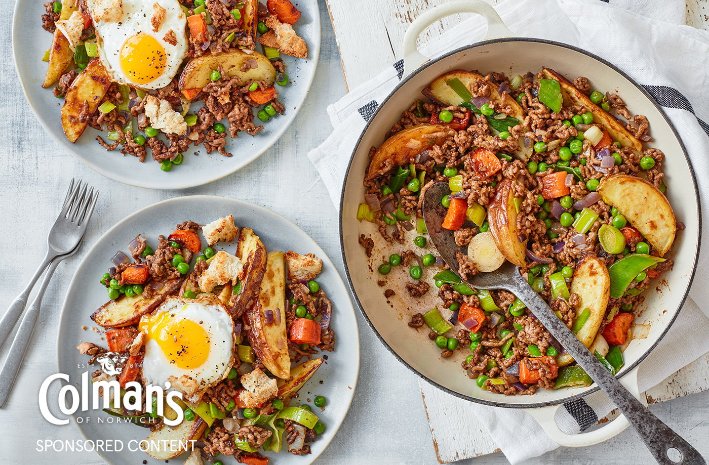 Cottage pie hash with chunky spring veg