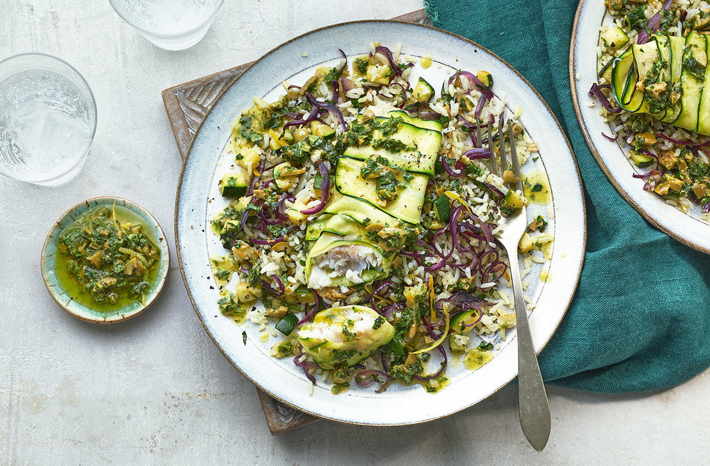 Courgette and fish pilaf recipe