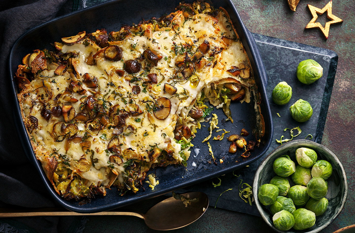 Crispy sprout and chestnut baked crêpes recipe